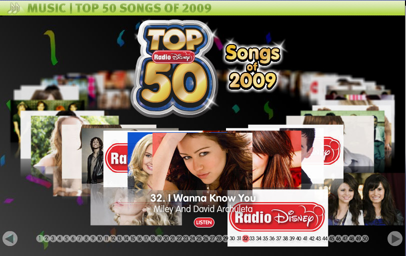 I Wanna Know You hits #35 in Radio Disney's Top 50 Songs of 2009